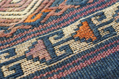 oriental rug: Detail, tightly woven knots of vintage Turkish kilim      Stock Photo
