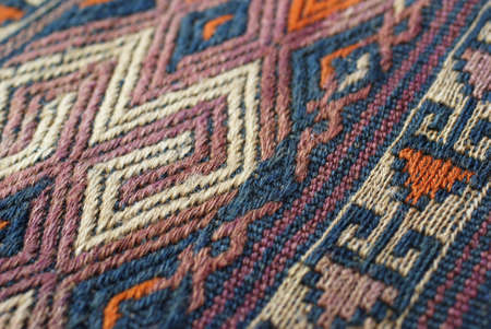 Detail, tightly woven knots of vintage Turkish kilim
