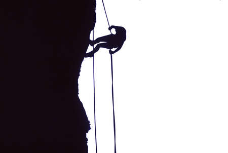 abseil: Climber on rappel, silhouette,  Obsidian Cliffs, Oregon Cascades