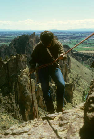 abseil: Rappel from Monkey Face Smith Rock,  Oregon Cascades