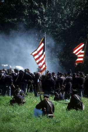 Union line preparing to fire,  Civil War battle reenactment      Stock Photo
