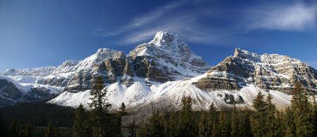 파노라마, Crowfoot Glacier, 빙하의 빙하, 산. 톰슨 컬럼비아 아이스 필드 파크 웨이, 알버타, 캐나다