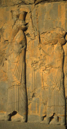 詳細、王の行列とそのしもべ、[ペルシャ帝国、ダライアスの首都] ペルセポリス, イラン, 中東