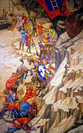 Medieval knights in narrow canyon, antique painting,  Prague Czechoslovakia [Czech Republic]