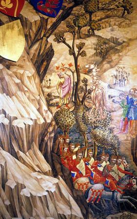 狭い渓谷で中世の騎士アンティーク絵画、チェコスロバキアのプラハ [チェコ]