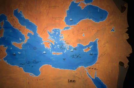 Painted map of eastern Mediterranean & Black Sea