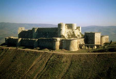 Krak des Chevaliers, most famous Crusader castle,   Syria   Stock Photo