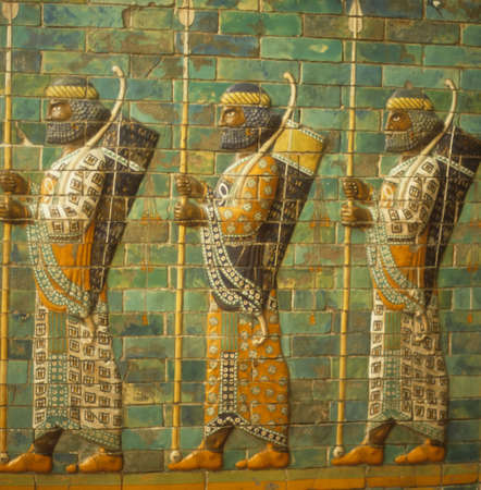 Babylonian archers, Assyrian mosaic tiles, museum in   Berlin Germany