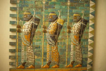 tribute: Babylonian archers, Assyrian mosaic tiles, museum in   Berlin Germany