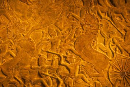 cambodia sculpture: Chariot battle scene, Cambodian bas relief sculpture,  Berlin Germany   Stock Photo
