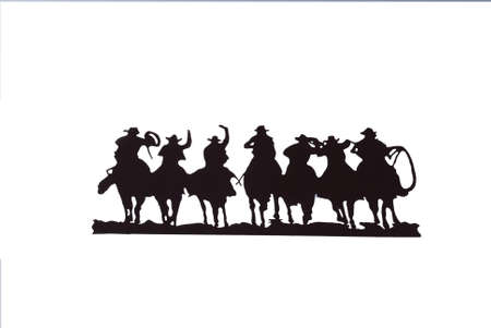 Buckaroos - cowboys with lariats galloping on their horses,Western art, iron work,Wyoming, Rocky Mountain west  Archivio Fotografico
