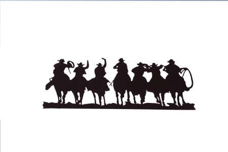 Buckaroos - cowboys met lariats galopperen over hun paarden, westerse kunst, ijzer werk, Wyoming, Rocky Mountain west
