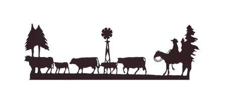 Buckaroos の彼の馬に、放牧牛、西洋美術、鉄の仕事、ワイオミング州、ロッキー山脈の西のカウボーイ