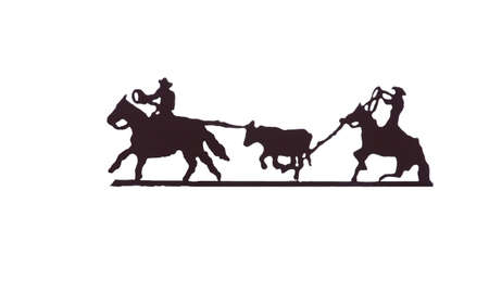 Buckaroos - cowboys with lariats roping cattle from their horses,  Western art, iron work,  Wyoming, Rocky Mountain west