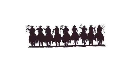 Buckaroos - cowboys with lariats galloping on their horses, Western art, iron work,  Wyoming, Rocky Mountain west