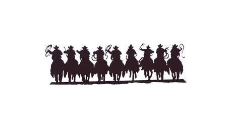 Buckaroos - cowboys met lariats galopperen op hun paarden, westerse kunst, ijzer werk, Wyoming, Rocky Mountain westen