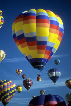 Hot air balloons agaisnt blue sky, International Balloon Festival, Albuquerque, New Mexico