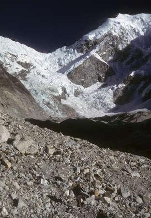 Rowaling Glacier and moraines,  Rowaling Himalaya,  Nepal, Asia