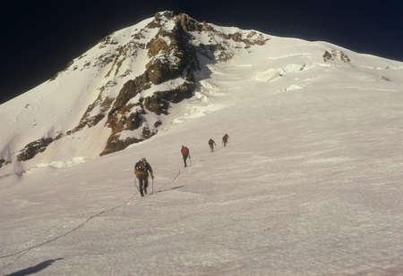 Rope team of climbers on Sunshine Route Mt. Hood Cascades Oregon   photo