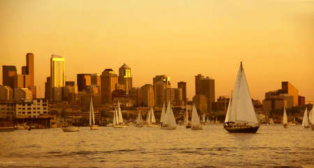 Sunset panorama, Seattle skyline, sailboats & marina,   Lake Union, Seattle, Pacific Northwest   photo