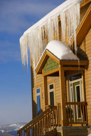 townhouses: Large icicles on  Townhouses after heavy snowstorm, Steamboat Springs, Colorado, Rocky Mountains