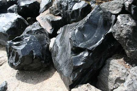 talus: Obsidian cantos rodados de corriente de lava, erupci�n volc�nica, Newberry Monumento Nacional Volc�nico, Central Oregon
