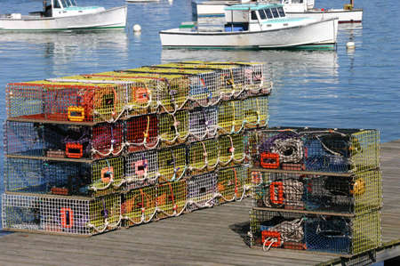 lobster pots: Brightly colored lobster traps and harbor view, Mount Desert Island, Acadia National Park, Bernard  Maine