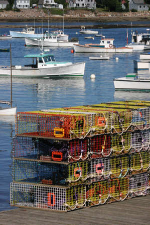 Brightly colored lobster traps and harbor view, Mount Desert Island, Acadia National Park, Bernard  Maine  photo
