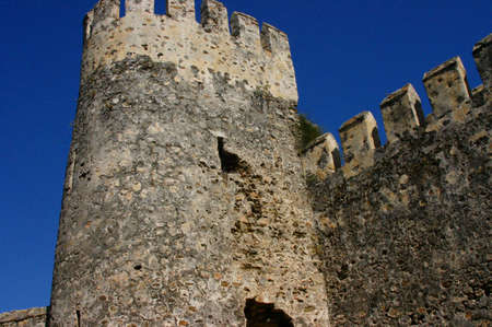embrasure: Mumure Castle - Tower and castle walls Anamur Turkey  Stock Photo