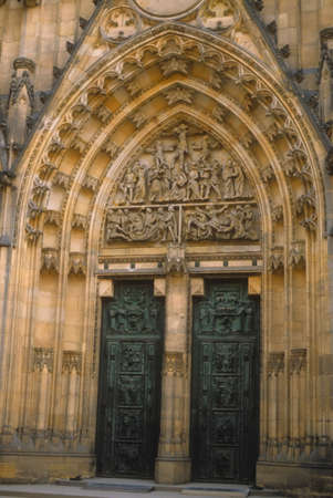 Door, St. Vitus Cathedral,  gothic arches.  Prague, Czechoslovakia [Czech Republic]