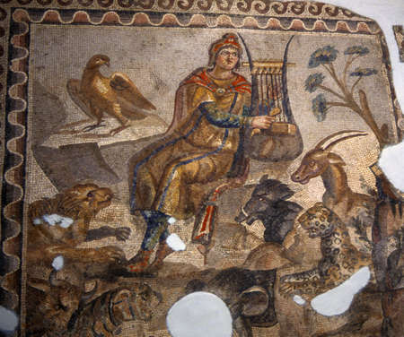 savage: Orpheus soothing the savage beasts,  ancient Roman Mosaics, Hatay Museum,  Antakya [Antioch],  Turkey