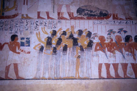 Funeral procession, painting from Egyptian tomb,   Luxor Egypt, Middle East