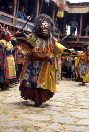 mani: Mani Rimdu dancer, dressed as Tibetan god for harvest festival, Thyangboche Monastery Khumbu Nepal