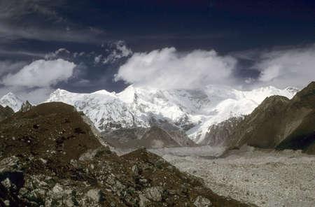 Himalayan highlands, glaciers and huge moraines Chyungma Pass Khumbu Himalaya, Nepal, Asia