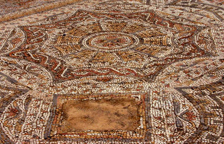 Detail, Roman mosaic floor, natural colored tesserae. Nura  Sardinia Italy