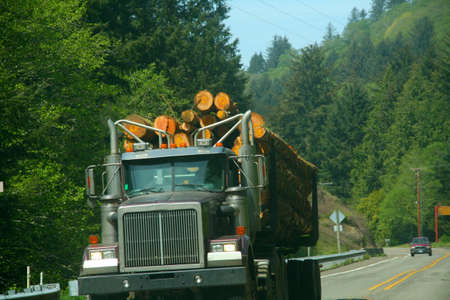 logging: Logging truck,vehicle on highway near  Florence,  Oregon coast   Stock Photo