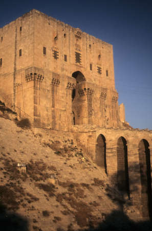 Entrance tower & moat of Citadel,  Aleppo Syria, Middle East
