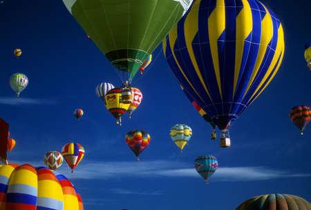 Hot air balloons agaisnt blue sky,  International Balloon Festival,  Albuquerque,  New Mexico   Stock Photo