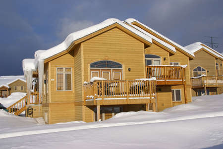 Townhouses after heavy snowstorm,  Steamboat Springs, Colorado, Rocky Mountains   photo