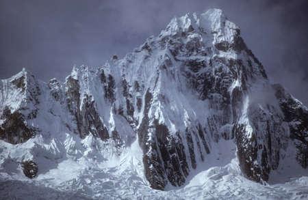 ridged: Taillaraju,  Steep ridged mountain with glacier icefall, Cordillera Blanca, Andes mountains, Peru, South America