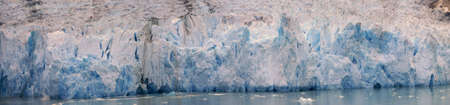 Panorama - glacial icefall on ocean fjord, Sawyer Glacier, Endicott Arm Fjord,  Alaska
