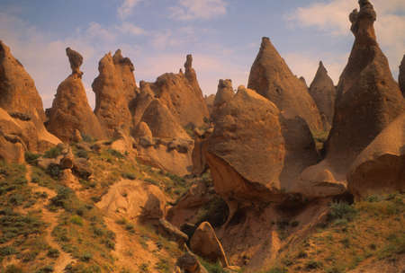 badlands: Fairy chimneys in eroded badlands near   Zelve, Cappadoccia  , Turkey