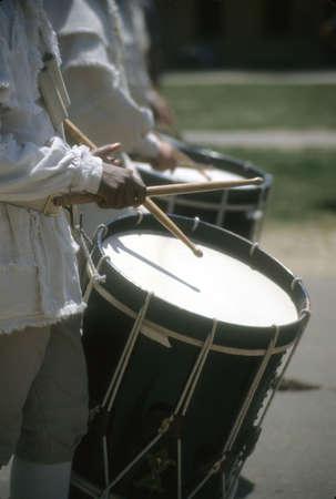 Drummers in white colonial uniforms,Williamsburg,Virginia,