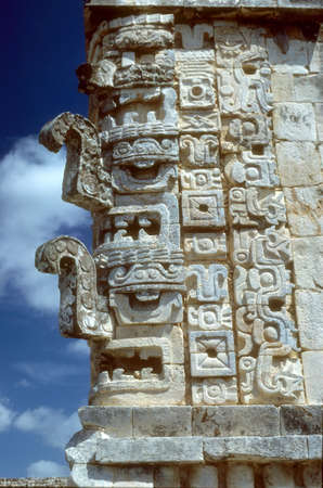 Mayan frieze, Uxmal  Uxmal, Yucatan,  Mexico