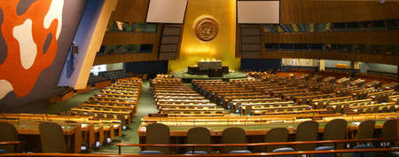 General Assembly Chamber  United Nations Headquarters, New York City   Stock Photo