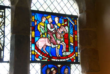 stained glass panel: Stained glass,King on horseback,   Cloisters, New York City