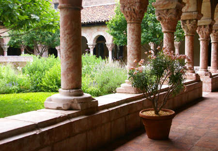 Arches and carved columns,medieval Cloisters,New York City