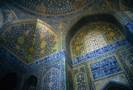 Intricate Persian mosaics, Emam Mosque,  Isfahan, Iran, Middle East   Stock Photo