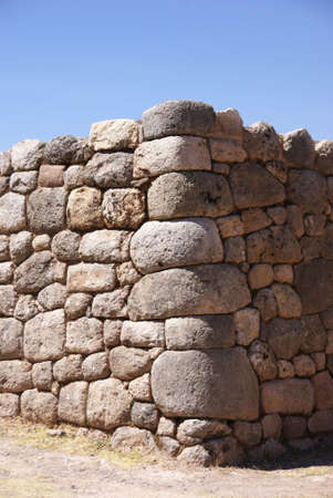 close fitting: Detail, high quality of Inca stone wall, Puca Pucare,  Cusco, Peru, South America   Stock Photo