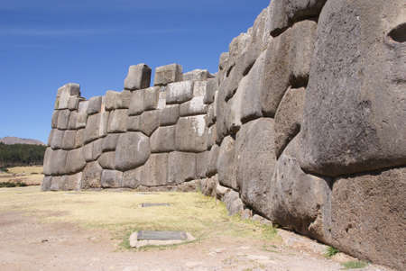 close fitting: Massive stones in Inca fortress walls,  Sacsayhuaman,  Cusco, Peru, South America